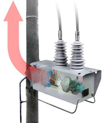 No caso de arco, o religador de poste OSM NOJA Power direciona os gases quentes para o poste e para cima, minimizando o risco ao pessoal de manutenção e ao público em geral que podem estar no solo