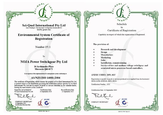 NOJA Power: Conformidade com ISO14001